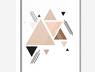 Los Quadros Quadro Decorativo Triângulos Rosa 45cmx33cm Los Quadros Branco