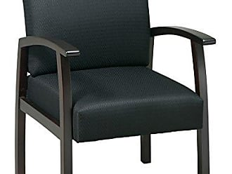 Office Star WD1358-363 Deluxe Guest Chair with Espresso Finish Base and Arms, Black