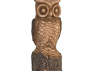 Foreside Home And Garden Foreside Home & Garden Carved Owl Large Figurine, Brown
