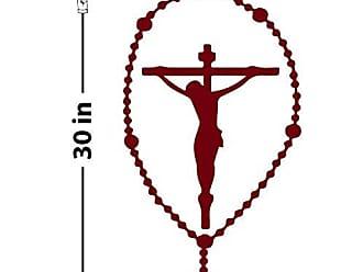 The Decal Guru Rosary Crucifix Wall Decal (Burgundy, 30 (H) X 15 (W))