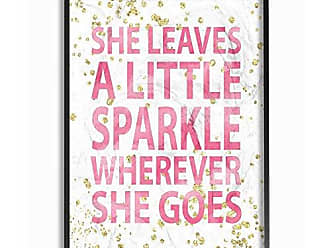 Stupell Industries The Stupell Home Decor Collection She She Leaves a Little Sparkle Oversized Framed Giclee Texturized Art, 16 x 20