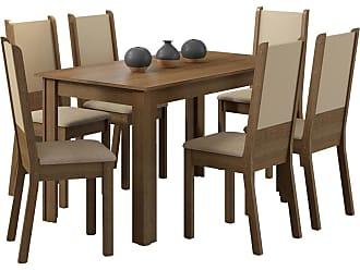 Madesa Sala de Jantar Madesa Tábata e 6 cadeiras Marrom