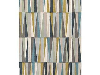 Surya OAS1095-58 Hand Tufted Geometric Area Rug, 5 by 8-Feet, Light Gray/Aqua/Beige/Charcoal/Moss/Taupe/Gold