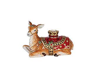 Fitz and Floyd 49-662 Renaissance Holiday Deer Candleholder Resting
