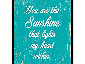 Spot Color Art SpotColorArt You are The Sunshine That Lights My Heart Within Handcrafted Canvas Print 22 x 29 Aqua
