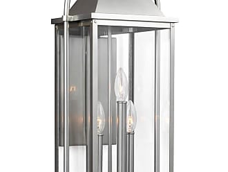 Feiss Wellsworth 22.75 3-Light Outdoor Wall Lantern in Brushed Steel