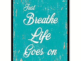 Spot Color Art SpotColorArt Just Breathe Life Goes On Handcrafted Canvas Print 13 x 17 Aqua