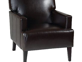 Office Star AVE SIX Carrington Arm Chair with Espresso Finish Wood Legs, Espresso Bonded Leather
