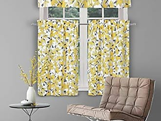 Duck River Textile Serafina - Margery Paisley Printed Kitchen Tier & Valance Set | Small Window Curtain for Cafe, Bath, Laundry, Bedroom - (Grey & Yellow)