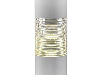 Zodax 12 Tall LED Hurricane Candle Holder, Line Design, White