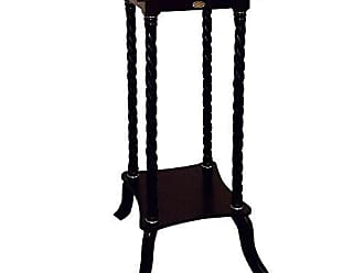 Ore International Frenchi Home Furnishing Flower Stand With Ceramic Top Cherry Finish
