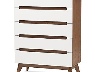 Wholesale Interiors Baxton Studio Chests of Drawers/Bureaus, 5-Drawer Storage Chest, White/Walnut Brown