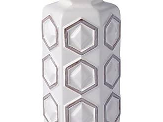 Varaluz Casa 414A01WHGR Small Hex Ceramic Vase - White with Gray