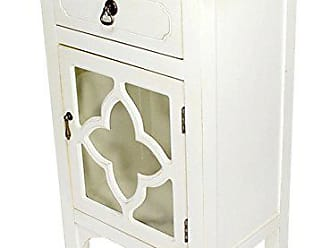 Heather Ann Creations Standing Single Drawer Distressed Decorative Accent Cabinet, 30 x 18, Antique White