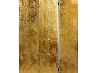 Oriental Furniture 6 ft. Faux Leather Gold Crocodile Room Divider