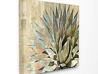 Stupell Industries The Stupell Home Décor Collection Green Painted Botanical Succulent Agave Leaves Stretched Canvas Wall Art, Multi-Color