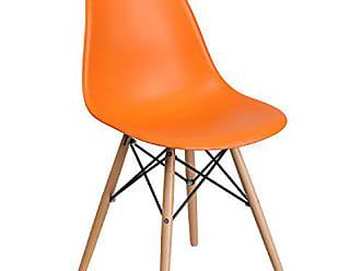 Flash Furniture Elon Series Orange Plastic Chair with Wood Base