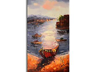 Omax Decor OMAX A View from the Shore Oil Painting on Canvas - 20W x 40H in. - M 3109