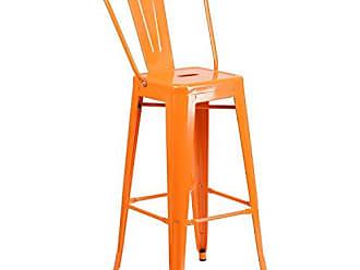 Flash Furniture 30 High Orange Metal Indoor-Outdoor Barstool with Back