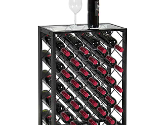 Best Choice Products 32-Bottle Modern Wine Rack Storage w/ Glass Table Top, Metal Frame - Black