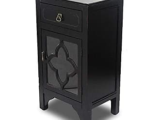 Heather Ann Creations Standing Single Drawer Distressed Cabinet, 30 x 18, Black