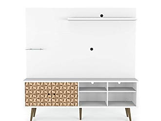 Manhattan Comfort 214BMC67 Liberty Complete Living Room Entertainment Center and TV Stand, White/3D Brown
