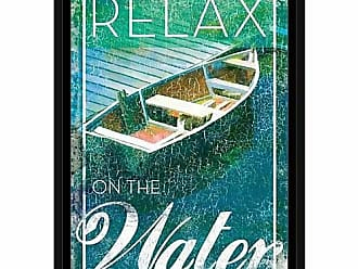 EAZL Relaxing Water Docked Boat Distressed Inspirational Typography Coastal Painting Blue & Green, Framed Canvas Art by Pied Piper Creative