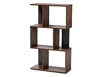 Wholesale Interiors Baxton Studio 148-8257-AMZ Vivace Display Bookcase, Walnut Brown/Dark Grey