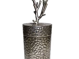 Benzara BM180986 Metal Lidded Jar with Patterned Body, Silver