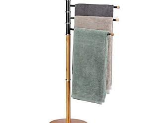 nature Relaxdays Porte-serviettes sur pied 3 bras salle de bain bambou support valet serviteur HxlxP 84 x 48 x 26 cm