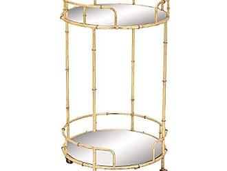 Urban Designs Gold Leaf 2-Shelf Round Rolling Bar Cart