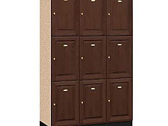 Salsbury Industries 3-Tier Solid Oak Executive Wood Locker with Three Wide Storage Units, 6-Feet High by 18-Inch Deep, Dark Oak