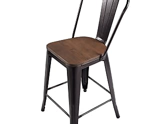 Costway Set of 4 Rustic Metal Wood Bar Chairs