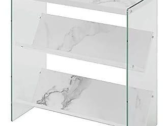 Convenience Concepts 131559WM Soho Bookcase, White Faux Marble/Glass