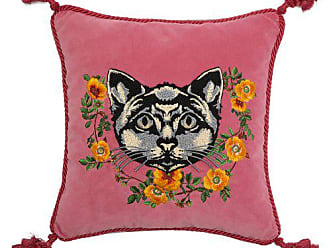 Gucci Cat Embroidered Velvet Cushion - Pink Multi