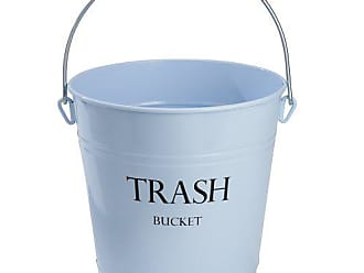 InterDesign Pail Metal Round Wastebasket, Garbage Trash Can for Bathroom, Bedroom, Home Office, Kitchen, Patio, Dorm, College, 10.5 x 10.5 x 10.5, Light Blue