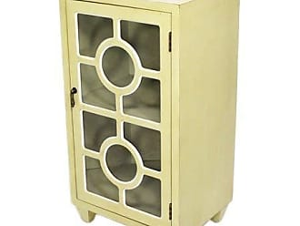 Heather Ann Creations Free Standing Single Drawer Distressed Cabinet, 30 x 18, Beige
