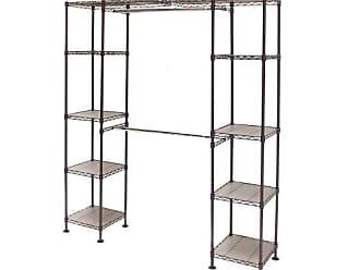 Seville Classics Double-Rod Expandable Clothes Rack Closet Organizer System, 58 to 83 W x 14 D x 72, Satin Bronze
