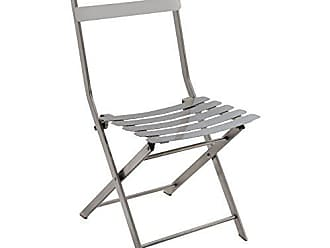 FURNITURE OF AMERICA HOMES: Inside + Out IDF-3506SC Adone Industrial Folding Metal Side Chair, Silver