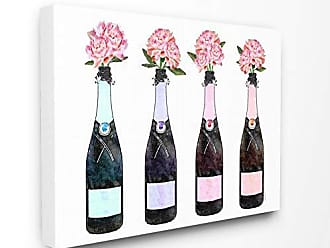 Stupell Industries The Stupell Home Décor Collection Black Pink Purple and Blue Champagne Bottles with Peonies Stretched Canvas Wall Art, 30 x 40, Multi-Color