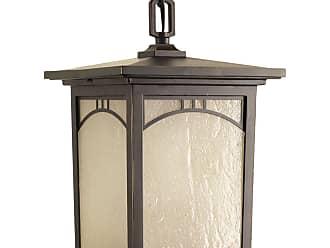 PROGRESS Residence Antique Bronze 1-Lt. Hanging Lantern (8) Etched Umber Seeded glass panels