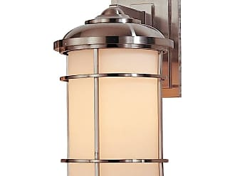 Feiss OL2201BS Lighthouse Wall Mount Lantern in Brushed Steel finish with Opal etched glass