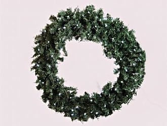 Queens of Christmas WL-GWPN-24-LPW 24 in. Pre Lit LED Pure White Pine Christmas Wreath