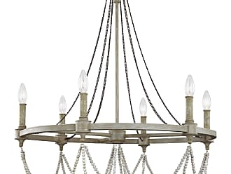 Feiss Beverly - 6 - Light Chandelier in French Washed Oak / Distressed White Wood
