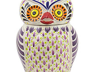 Novica 258718 Purple Owl Majolica Ceramic Cookie jar