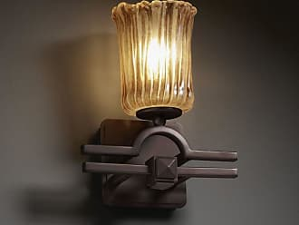 Justice Design GLA-8501 - Argyle 1 Light Wall Sconce - Cylinder with Rippled Rim Shade - Dark Bronze with Amber Glass - GLA-8501-16-AMBR-CROM