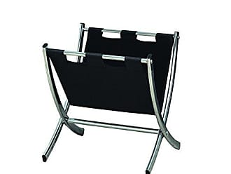Monarch Specialties Monarch I 2034 Leather-Look Metal Magazine Rack, Black/Chrome