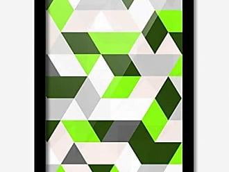 Los Quadros Quadro Decorativo Geométrico Verde e Branco 45 x 33 cm Los Quadros Preto