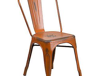 Flash Furniture Distressed Orange Metal Indoor-Outdoor Stackable Chair