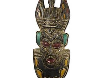Novica African wood mask, Crowned King